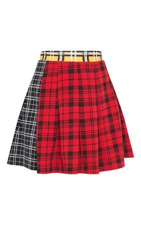 Black Mix Check Print Side Split Tennis Skirt   Skirts   PrettyLittleThing USA
