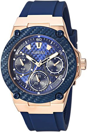 GUESS Rose Gold-Tone + Iconic Blue Stain Resistant Silicone Watch with Day, Date + 24 Hour Military/Int'l Time. Color: Blue (Model: U1094L2): Watches