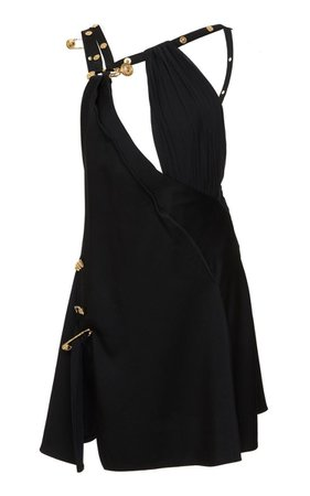 Embellished Crepe De Chine Mini Dress By Versace