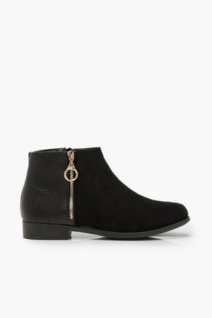 Wide Fit Mixed Material Chelsea Boots | Boohoo black