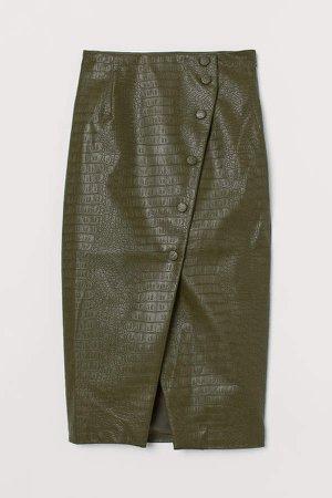 Crocodile-pattern Pencil Skirt - Green
