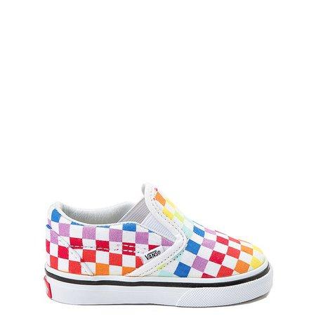 Vans Slip On Rainbow Checkerboard Skate Shoe - Baby / Toddler - Multi | Journeys