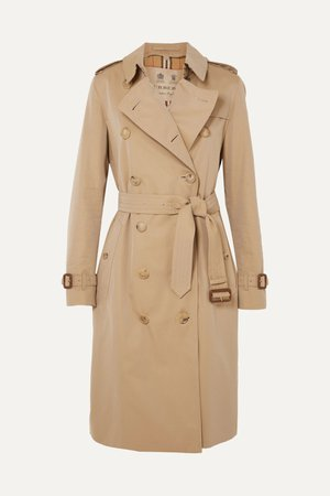 Beige The Kensington Long cotton-gabardine trench coat | Burberry | NET-A-PORTER
