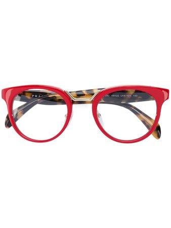 Prada Eyewear Round Frame Glasses Red Women authorized dealers [w-12197350] - $80.27 : Prada Bag, Low Price Guarantee