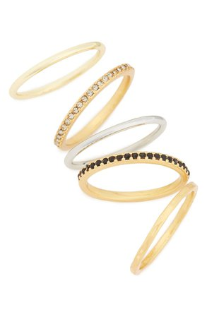 Madewell Filament Set of 5 Stacking Rings | Nordstrom