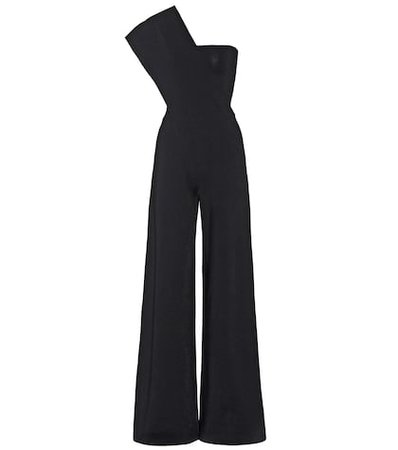 One-shoulder crêpe jumpsuit