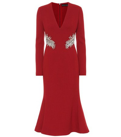 Embellished wool crêpe dress