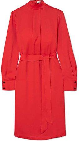 Cefinn - Pleated Jacquard Midi Dress - Red
