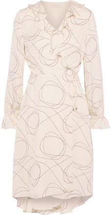 Lynley Ruffle-trimmed Printed Crepe De Chine Wrap Dress