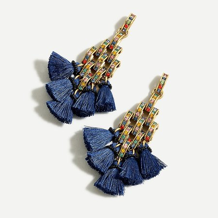 J.Crew: Chevron Tassel Statement Earrings For Women