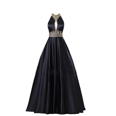 Dress long black gold