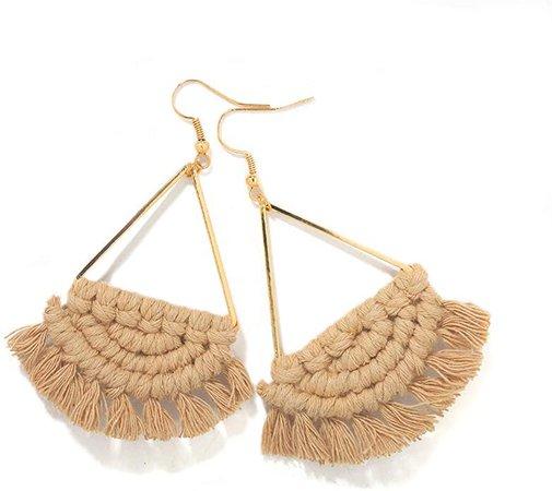 Amazon.com: Bohemian Handmade Fan Shape Fringe Tassel Drop Dangle Earrings for Women Fashion Colorful Boho Statement Jewelry Gifts for Women (Brown): Jewelry