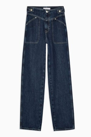 Indigo V Panel Wide Leg Jeans | Topshop