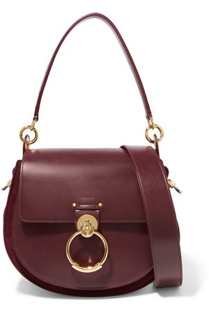 Chloé | Tess leather and suede shoulder bag | NET-A-PORTER.COM