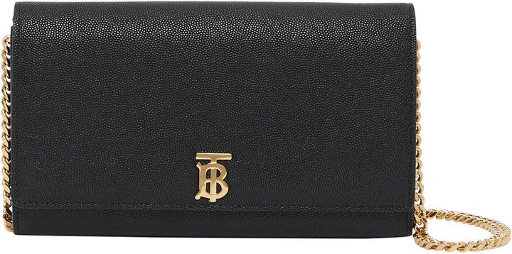Monogram Motif Leather Wallet with Detachable Strap