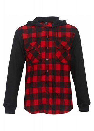 URBAN CLASSICS // Hooded Checked Flannel Sweatshirt