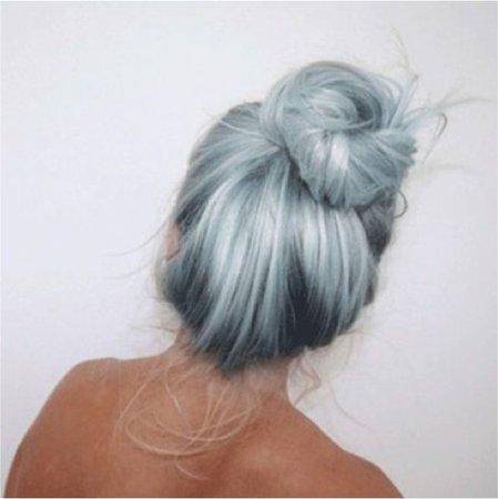 ombré light blue bun