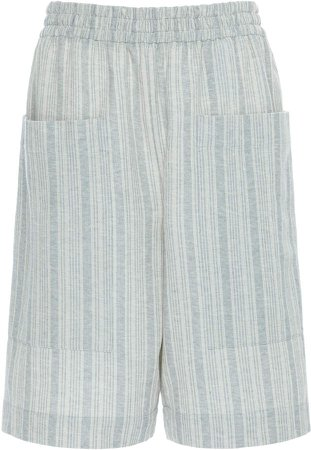 Striped Cotton-Blend Bermuda Shorts