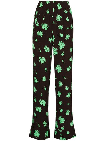 Shop brown & green GANNI floral-print straight-leg trousers with Express Delivery - Farfetch