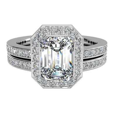 22.38 Emerald Diamond in Platinum Vintage Halo Micropavé Diamond Band Engagement Ring with matching band | $2,281,448