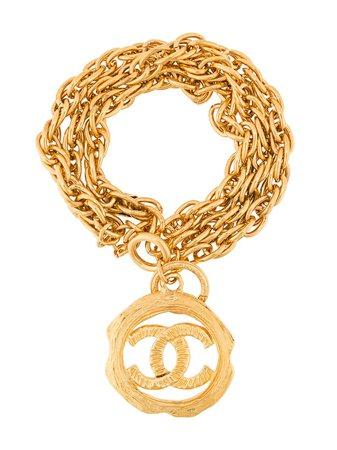 Metallic Chanel Pre-Owned CC chain bracelet BL008896 - Farfetch