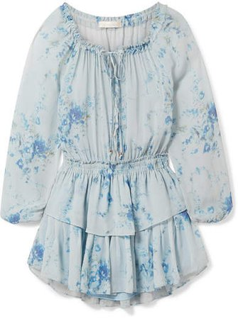 Celestia Tiered Floral-print Silk-georgette Mini Dress - Light blue