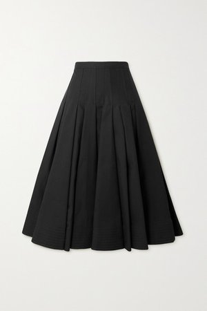 Pleated Cotton Silk-blend Midi Skirt - Black