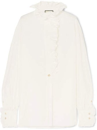 Ruffle-trimmed Cotton-poplin Shirt - White