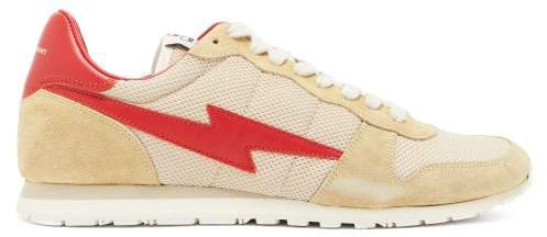 Bustee Suede And Mesh Trainers - Womens - Red Multi