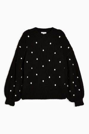 Black Spot Embroidered Sweater | Topshop