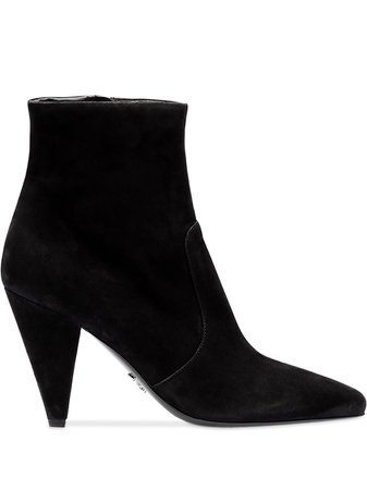Prada Suede Booties 1T670LF090008 Black | Farfetch