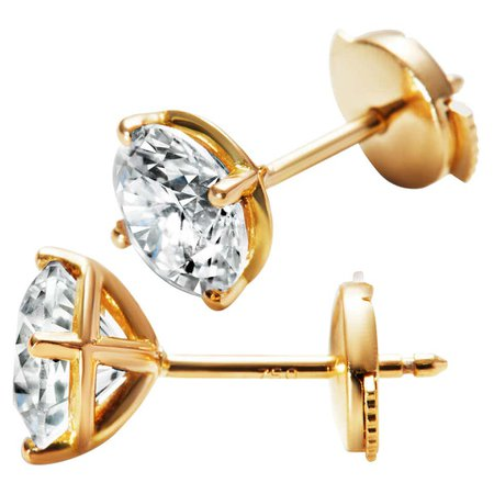 3ct Solitaire Traceable Diamond Ear Studs in 18k Yellow Gold