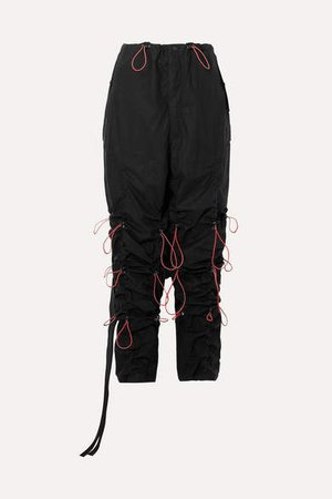 Ruched Cotton Cargo Pants - Black