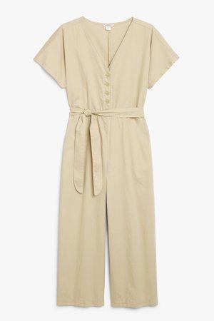Tie-waist jumpsuit - Khaki - Jumpsuits - Monki WW