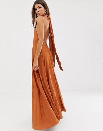 ASOS DESIGN halter trapeze pleated maxi dress with ring detail | ASOS