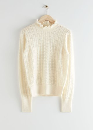 Cable Knit Ruffle Collar Sweater - Creme - Sweaters - & Other Stories