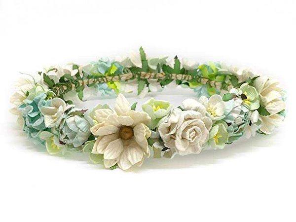 Amazon.com: Mint Green Flower Crown, Flower Crown, Bridal Flower Crown, Flower Girl Headpiece, Floral Crown, Mint Flower Crown, Flower Headband, Wedding Crown, Festival Flower Crown, Daisy Flower Crown: Handmade