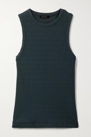 Net Sustain Ribbed Stretch-jersey Tank - Dark green
