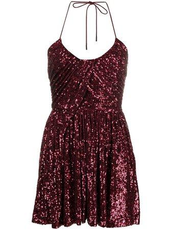 Saint Laurent Sequinned Pleated Mini Dress - Farfetch