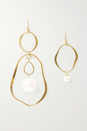 Gold Gold-plated pearl earrings | Chan Luu | NET-A-PORTER