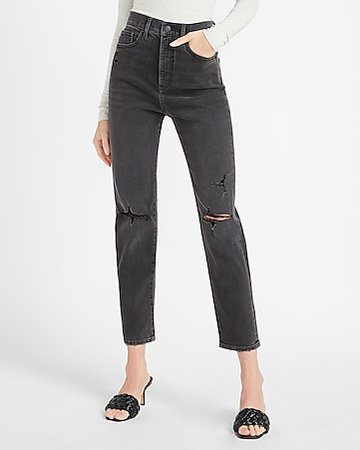 High Waisted Black Ripped Mom Jeans | Express