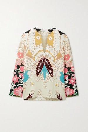 Floral-print Silk-crepe Blouse - White