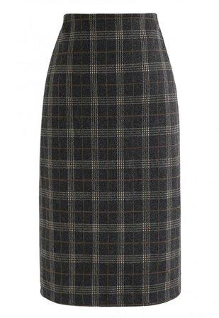 Slit Hem Plaid Shift Pencil Skirt in Smoke - Skirt - BOTTOMS - Retro, Indie and Unique Fashion
