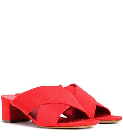 40mm Crossover suede sandals