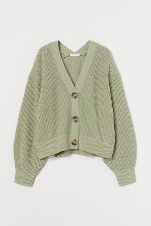 Rib-knit Cardigan - Light green - Ladies | H&M CA