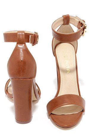 Cute Ankle Strap Heels - High Heel Sandals - Brown Heels - $34.00