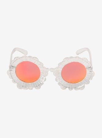 Clear Frame Sunset Mirror Lens Daisy Sunglasses