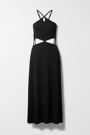 Cutout Ribbed Stretch-knit Dress - Black