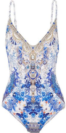 Painted Provincial Embellished Printed Swimsuit - Bright blue