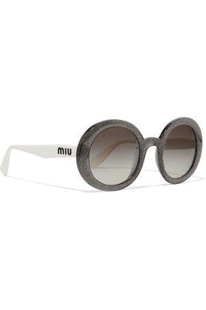 Black Round-frame glittered acetate sunglasses | Miu Miu | NET-A-PORTER